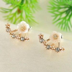 Rose Gold Rhinestone Flower Stud Earrings